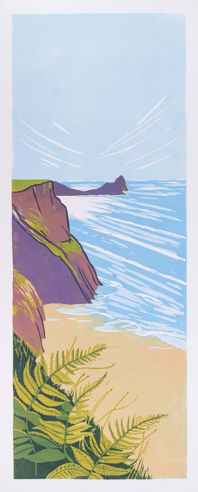 Worm's Head – Limited edition reduction lino print Framed £175