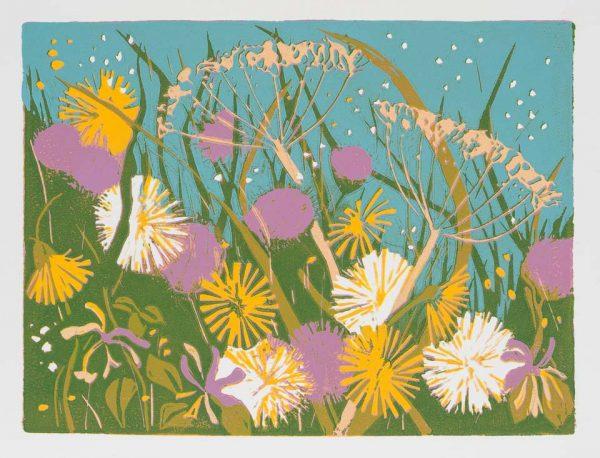 Flowers of the field – linocut