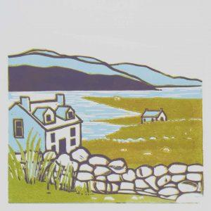 Connemara II – limited edition linocut print – framed £135