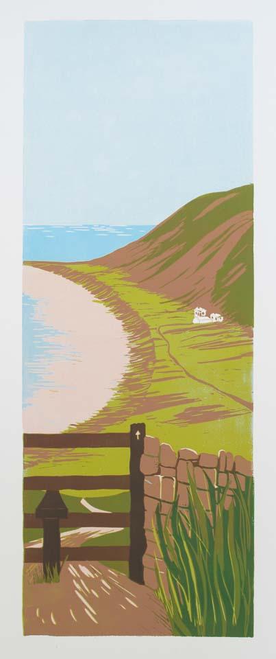Rhossili Bay – limited edition lino print. Framed £175