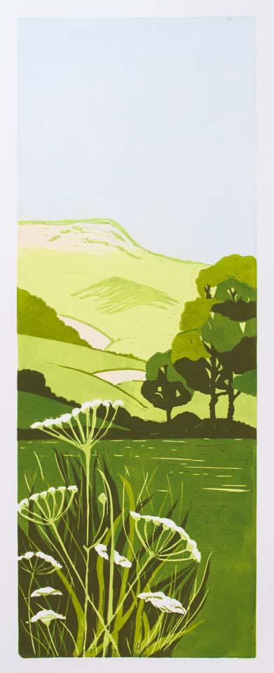 Bredon ridge – limited edition lino print. Framed £175