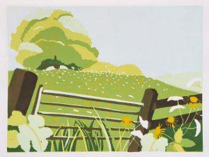 Across the meadow – lino print £135