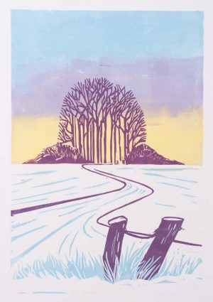 Towards the coppice -limited edition lino print. Framed £150